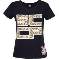 Camiseta Do Corinthians Fashion - Feminina - Preto