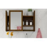 Espelheira / Gabinete Com Espelho Para Banheiro - Armário Aéreo Com Espelho Aquiles - Cor Nogueira - 60X86 Cm