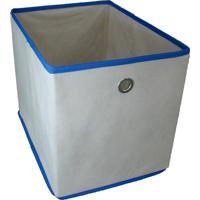 Caixa Organizadora Com Ilhós 28X31X38Cm Organibox Bege/Azul