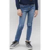 Calça Jeans Infantil Com Rasgos Azul Médio