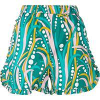 La Doublej Shorts Com Babados - Verde