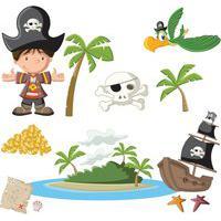 Adesivo De Parede Quartinhos Ilha Pirata Colorido