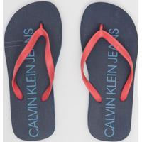 Chinelo Texturizado Com Inscrição- Azul Marinho & Coralcalvin Klein