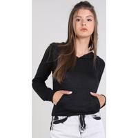 Blusão Feminino Com Capuz E Bolso Em Tricô Preto