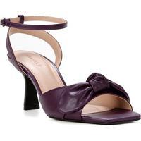 Sandália Couro Shoestock Salto Taça Médio Laço Feminino - Feminino-Roxo