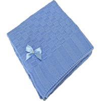 Manta Bebê Tricot Tricô Maternidade Recém Nascido Cod 1038.1 Azul
