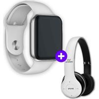 Kit Smartwatch Iwo8 44Mm Branco + Headphone Bluetooth P47 Branco