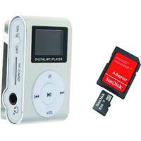 Mp3 Player Com Visor Cinza + Cartão De Memoria 8Gb
