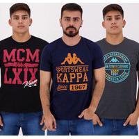 Kit De 3 Camisetas Kappa Iv Marinho Grafite E Preta