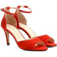 Sandália Couro Shoestock Salto Fino Naked Tornozeleira Feminina - Feminino