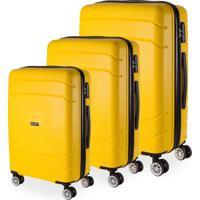 Conjunto Malas De Viagem Londres Em Polipropileno Gosuper Rodinhas Duplas Giro 360º 3 Peças Amarelo