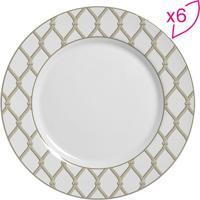 Conjunto De Pratos Rasos Flat Cordas- Branco & Bege-Scalla Cerâmica