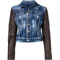 Dsquared2 Jaqueta Jeans Com Mangas De Couro - Azul