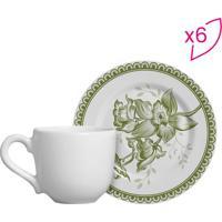 Conjunto De Xícaras De Café Floral- Branco & Verde- Scalla Cerâmica