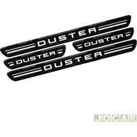 Aplique Da Soleira - Duster 2011 Em Diante - Resinado - Autoadesivo - Preto - Jogo
