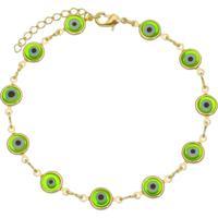 Pulseira Olho Grego Verde Tudo Joias Folheada A Ouro 18K Dourada