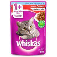 Ração Para Gatos Whiska Para Gatos Castrados Sabor Carne 85G