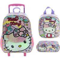Kit Mochila Xeryus Hello Kitty Rainbow De Rodinhas Com Lancheira E Estojo - Unissex-Rosa+Branco