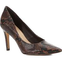 Scarpin Shoestock Snake Salto Alto - Feminino-Marrom