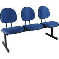 Longarina Secretária 3 Lugares Em Couro Ecológico Azul Ce151 Pethiflex