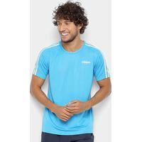Camiseta Adidas D2M 3 Stripes Masculina - Masculino-Azul Turquesa