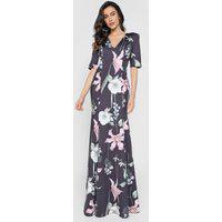Vestido Lança Perfume Longo Floral Preto/Rosa