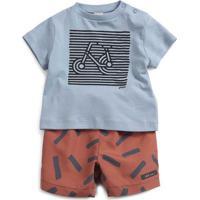 Conjunto De Camiseta Bicicleta + Bermuda - Azul Claro & Green