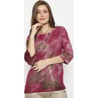 Blusa Em Tricot Vazado - Rosa & Marromspezzato