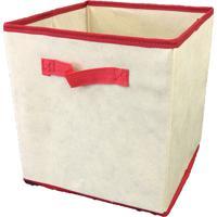 Caixa Organizadora Com Alça 28X31X28Cm Organibox Bege/Vermelho