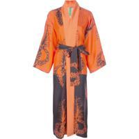 Rianna + Nina Vestido Kimono De Seda Com Estampa - Laranja