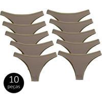 Kit Com 10 Calcinhas Modelo Tanga De Algodão - Feminino-Bege