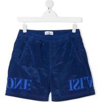 Stone Island Junior Short Esportivo Com Logo Bordado - Azul