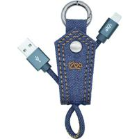 Chaveiro Com Cabo Lightning Iphone Em Jeans- Azul & Prati2Go