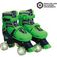 Patins Roller Infantil 4 Rodas Paralelas Verde Com Luz De Led Ajustável De Menino -Unik Toys Multicolorido