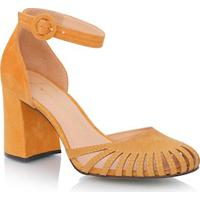 Sapato Bico Redondo Em Camurça Amarelo