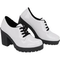 Sapato Oxford Cano Curto Selten Feminino - Feminino-Branco