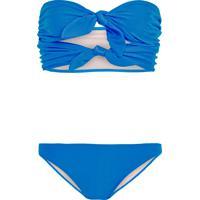 Biquíni Laço Duplo Turquoise Liso - Azul