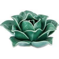 Flor Decorativa Em Camadas- Verde- 4,5Xã˜9Cm- Marmart