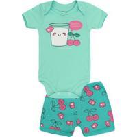 Conjunto Bebê Body Short Copo De Leite Baby Duck Feminino - Feminino-Verde