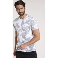 Camiseta Masculina Esportiva Ace Estampada Camuflada Manga Curta Gola Careca Branca