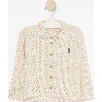 Camisa Geomã©Trica Com Bolso Frontal- Off White & Vermelhgreen