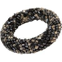 Porta-Guardanapo Artesanal De Vidrilhos Decorativo Ring Black