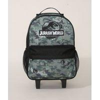 Mochila Infantil Estampada Camuflada Jurassic World Com Rodas Verde