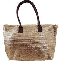 Bolsa Shopper Fibra Metalizada Dourada