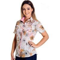 adfaf1ef4 ... Camisa Pimenta Rosada Kate Floral - Feminino-Branco+Rosa