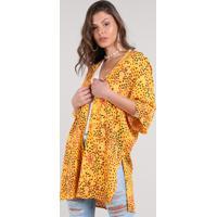 Kimono Feminino Estampado Floral Com Fendas Amarelo
