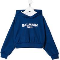 Balmain Kids Blusa De Moletom Com Logo E Capuz - Azul
