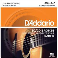 Encordoamento Para Violão 0.10 Bronze 80/20 Ej10-B D Addario