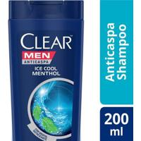 Shampo Clear Ice Cool Menthol Anticaspa 200Ml - Masculino-Incolor