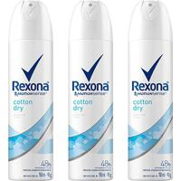Kit Desodorante Rexona Cotton Dry 48 Horas Aerosol Feminino 150Ml Com 3 Unidades - Feminino-Incolor